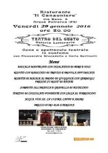 29 Gennaio 2016: Teatro del Gusto
